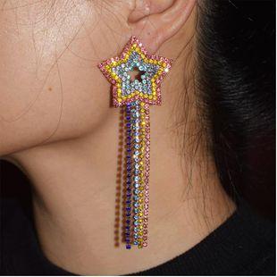 Pendientes largos con borlas retro de diamantes NHJQ139271's discount tags