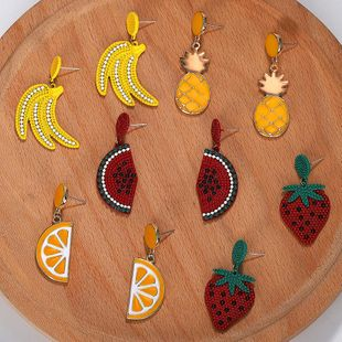 Womens Fruit Pineapple Watermelon Strawberry Banana Cherry Electroplating Alloy Earrings NHJQ139272's discount tags