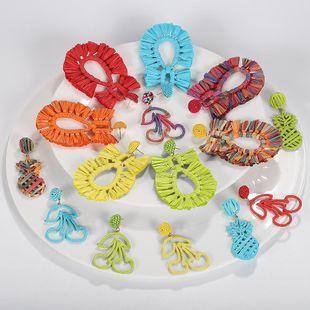 Ethnic wind weaving rafia earrings NHJQ139278's discount tags