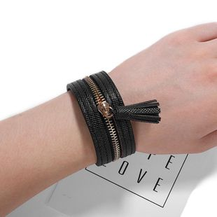 Leopard leather snap adjustable alloy bracelet NHJQ139282's discount tags