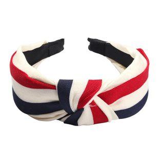 Fashion stitching stripe wide headband NHMD139291's discount tags