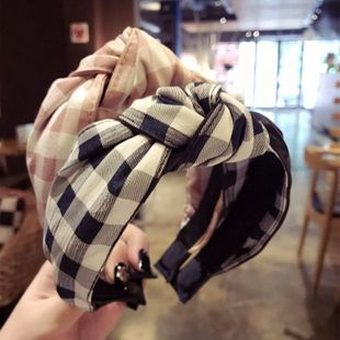 PU lattice stitching middle knotted knotted bow headband NHSM139296's discount tags