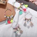 Ethnic style handmade natural shell circle tassel earrings NHJQ139132