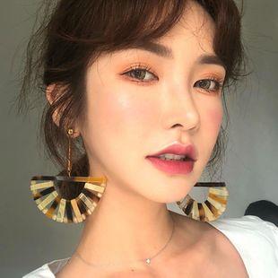 Fashion Acrylic Braided Fan-shaped Cutout Earrings NHLL144859's discount tags