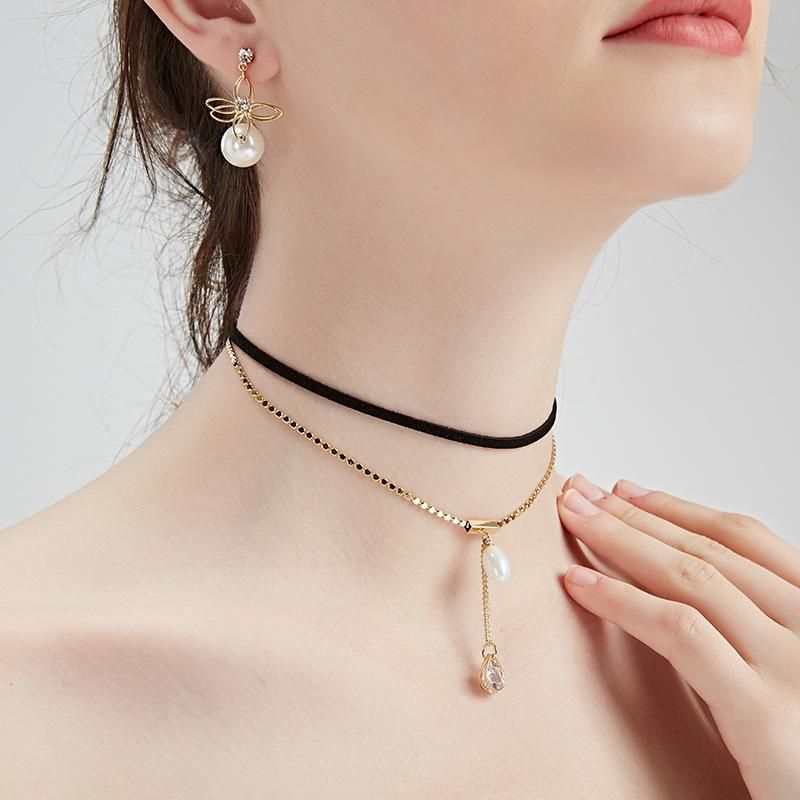Womens geometric plating alloy Choker NHLL144931