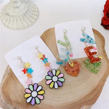 Fashion long color stars acrylic earrings NHYQ145021's discount tags