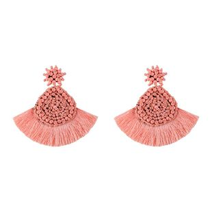 Retro scalloped rice beads woven earrings NHLL145062's discount tags