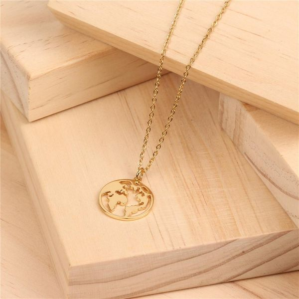 Simple round your world map 14K alloy titanium steel necklace NHPY145071
