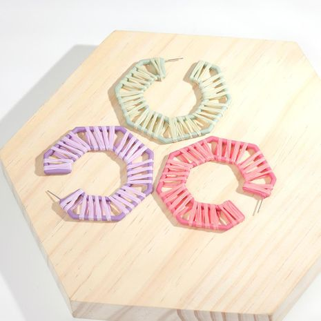 Round polygonal braided alloy earrings NHLL145094's discount tags