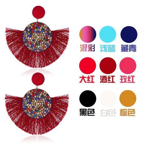 Fashion color rhinestone fan-shaped tassel earrings multicolor NHDP145099's discount tags