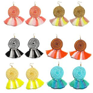 New hand-knitted dynamic circle tassel earrings NHDP145106's discount tags