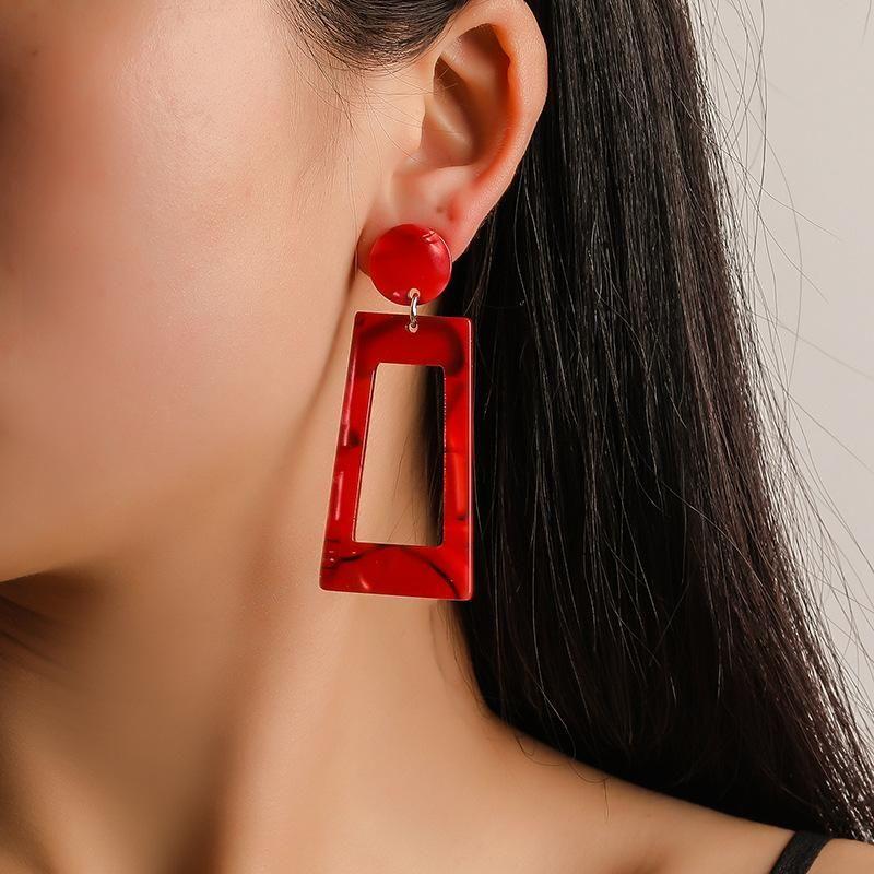 Stylish rectangular colorful acetate stud earrings NHDP145107
