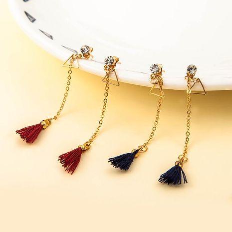 New triangular rhinestone long tassel earrings NHDP145109's discount tags