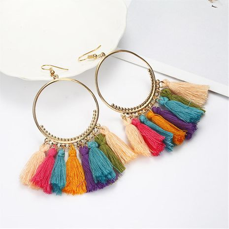 Fashion bohemian large circle fan-shaped tassel earrings NHPF145115's discount tags