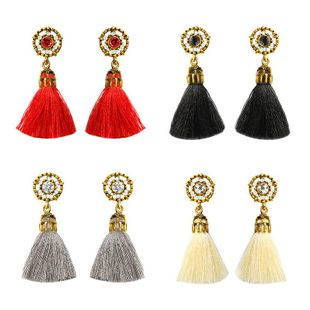 Fashion zircon-inlaid tassel earrings NHDP145116's discount tags