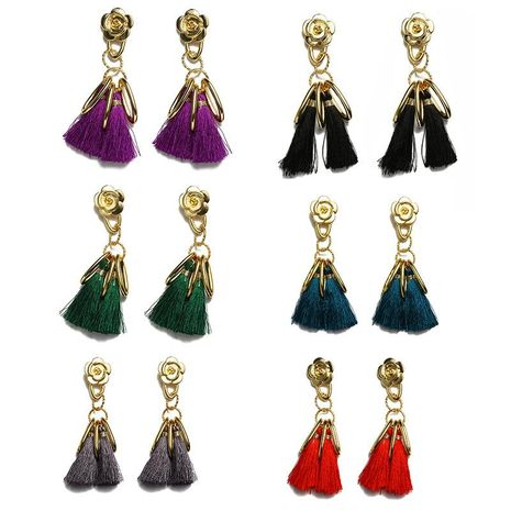 Fashion new vintage alloy flower tassel earrings NHDP145119's discount tags