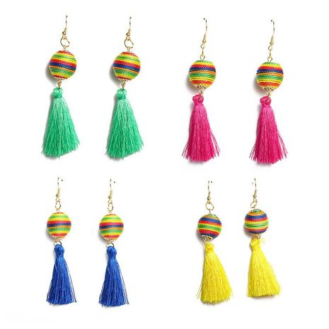 New colored wool ball tassel earrings NHDP145122's discount tags