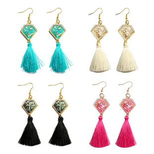 New rhinestone-set jewel triangle tassel earrings NHDP145124's discount tags