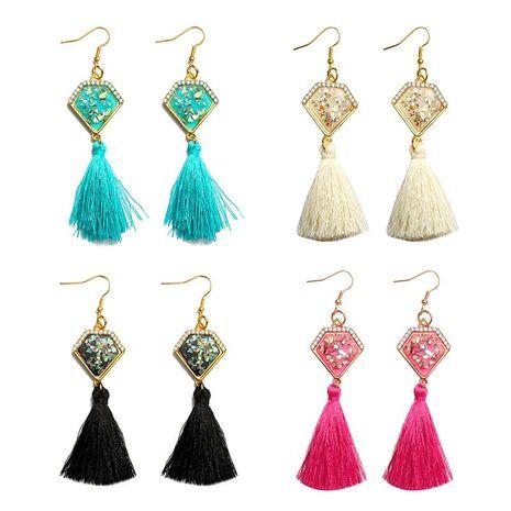 New rhinestone-set jewel triangle tassel earrings NHDP145124's discount tags