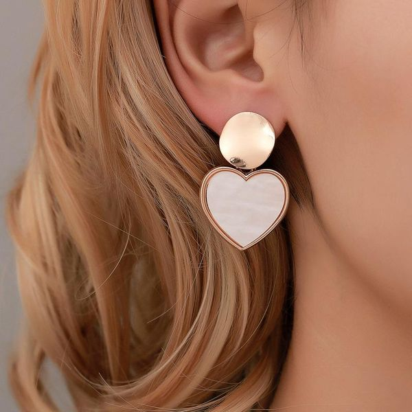 New minimalist geometric heart earrings NHDP145144