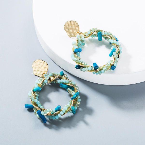 Aretes de mujer color turquesa círculo de moda NHLN145174
