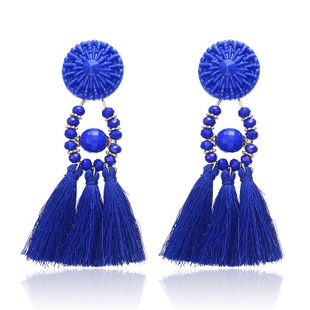 Fashion multi-color long tassel earrings NHPF145187's discount tags