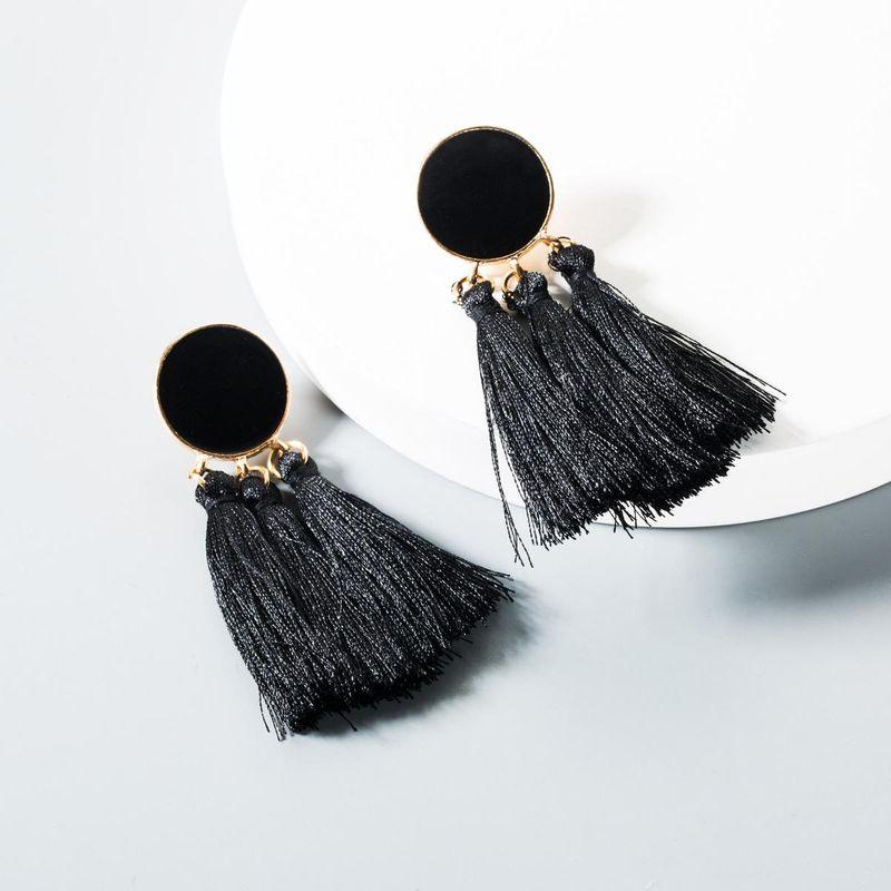 Vintage round tassel earrings black white NHLN145209