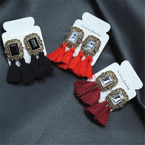 New fringed vintage gemstone earrings NHPF145212's discount tags
