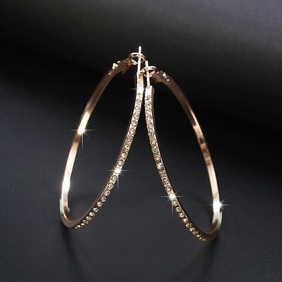 Simple fashion rhinestone-encrusted alloy big hoop earrings NHPF145217