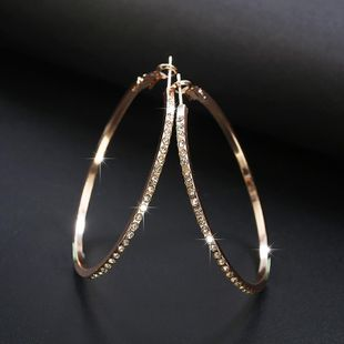 Simple fashion rhinestone-encrusted alloy big hoop earrings NHPF145217's discount tags