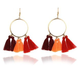 Fashion new tassel big circle multicolor earrings NHPF145229's discount tags