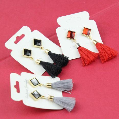 Boucles d'oreilles à franges en velours de coton et strass NHPF145231's discount tags