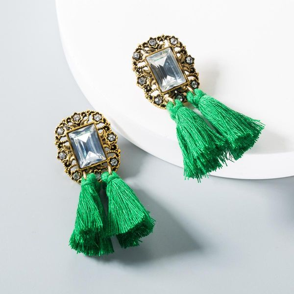 Fashion rhinestone tassel earrings NHLN145232