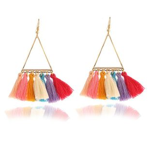 Vintage color tassel earrings NHPF145237's discount tags