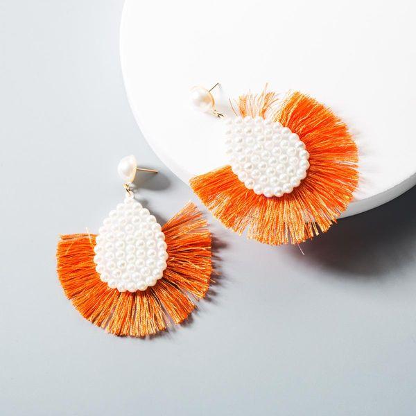 Vintage fashion metal scalloped beads long earrings NHLN145243