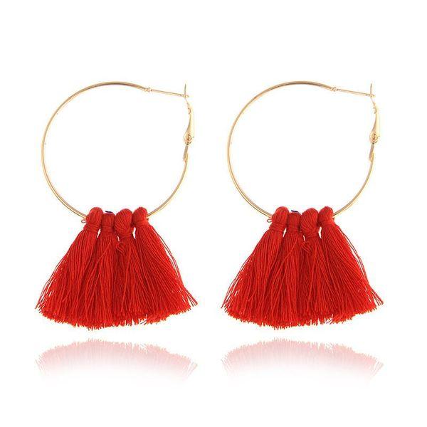 Sleek minimalist multicolor tassel earrings NHPF145251