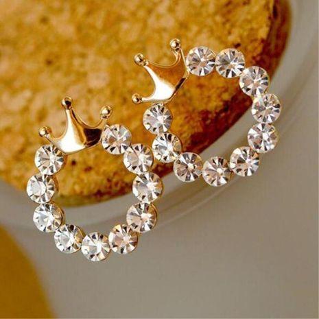 Fashion Round Rhinestone Glossy Crown Stud earrings NHPF145263's discount tags
