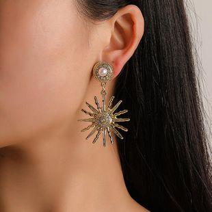 Fashion vintage alloy rhinestone sun flower earrings NHDP145269's discount tags
