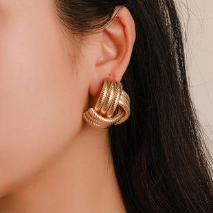 Vintage fashion geometric cross metal pattern stud earrings NHDP145271's discount tags