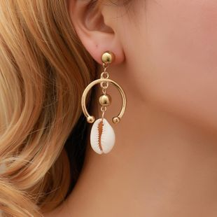 Fashion long semi-circular shell earrings NHDP145277's discount tags