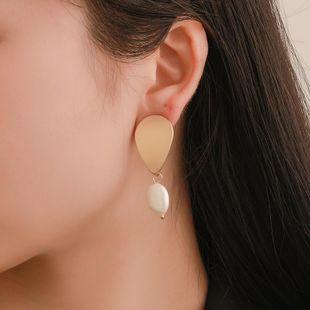 Simple metal drop beads earrings NHDP145278's discount tags