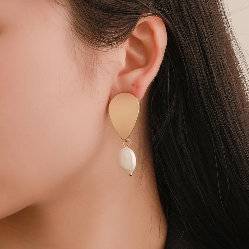 Simple metal drop beads earrings NHDP145278