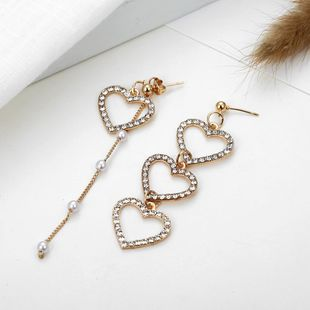 New asymmetric rhinestone heart earrings NHPF145280's discount tags