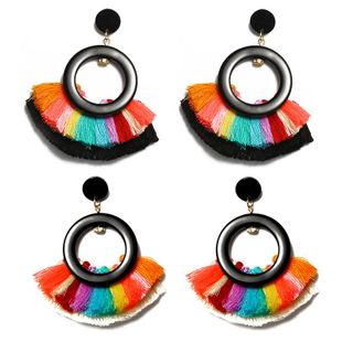 New circle color tassel earrings NHDP145283's discount tags
