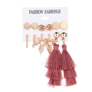 Simple leaf fringed metal circle earrings NHDP145289's discount tags