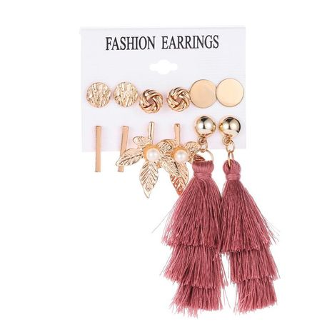 Simple leaf fringed metal circle earrings NHDP145289's discount tags