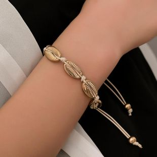 New fashion braided hand rope shell alloy bracelet NHDP145298's discount tags