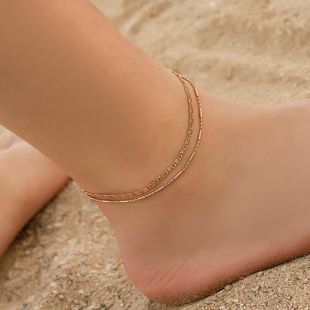 Fashion bamboo double-layered rice chain anklet NHDP145302's discount tags
