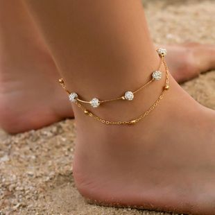Fashion double-layer chat imitated crystal ball anklet NHDP145307's discount tags