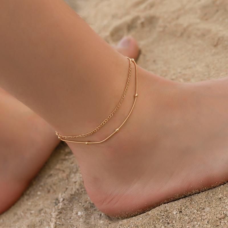 Simple multilayered snake bone metal anklet NHDP145308